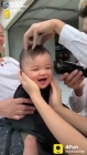 Baby hair cuting funny